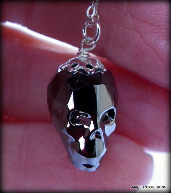 swarovski skull necklace